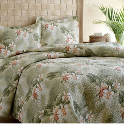 Tommy Bahama - Tommy Bahama Tropical Orchid Quilt Set - 187052 - Shop for Throws from Hayneedle.com! An escape to the tropics isn't far-fetched - with the Tommy Bahama Tropical Orchid collection it's as close as your bedroom. Crafted with soft 100% cotton fabric this casual bedding set includes a plush reversible quilt with a soothing white and green tropical orchid motif on both sides. Choose a twin full/queen or king size - the twin set comes with one standard sham and the other sets come with two. Machine wash.About Tommy Bahama HomeTommy Bahama started as an upscale men's casual sportswear line and has transformed into a signature brand expanding their product line to accommodate women's apparel golf wear footwear home furnishings and even retail and restaurant compounds. The Tommy Bahama brand represents quality products with fashion forward designs that are available at an affordable price. Their signature island-lifestyle designs suggest a modern style with an emphasis on comfort and relaxation.