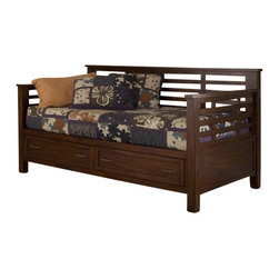 Home Styles - Home Styles Cabin Creek Storage Daybed and Media Chest - Home Styles - Bedroom Sets - 541085041 - Our Cabin Creek collection conveys a reclaimed wood vintage feel.  Each piece is physically distressed by hand providing a unique one of a kind look.  The Cabin Creek Daybed and Media Chest by Home Styles are constructed of mahogany solids and veneers in a multi-step chestnut finish.