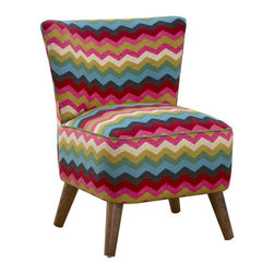 Color Wave Lounge Chair - A palette of bright colors comes together in a cool, modern wave pattern on this mid-century-inspired chair. With its thickly cushioned seat and high back, it sits on modern cone legs, making it a cool, and comfy, statement piece.