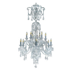 """Inviting Home - Large Cut Crystal Chandelier (select crystal) - Bohemian select crystal chandelier with cut crystal trimmings; 33"""" x 57""""H (12 lights); assembly required; 12 light select clear crystal chandelier with hand-molded arms and machine-cut crystal trimmings; all metal parts are chromium plated; genuine Czech crystal; * ready to ship in 2 to 3 weeks; * assembly required; This chandelier is a part of Bohemian Classic Collection. Under the name """"Bohemian chandeliers"""" it is impossible to imagine nothing more characteristic than crystal machine-cut chandeliers. Their all-crystal appearance with added non-glass materials makes them ideal representatives of the traditional Bohemian classic. The crystal beauty is then enhanced by mouth-blown cut components or hand-cut chandelier trimmings used. It is just these elements that rank these fixtures among """"jewels"""" illuminating luxurious interiors. The tradition of production luxurious appearance and classical morphology are the common denominator of all these chandeliers. To manufacture these almost 90 percent is hand-completed: mouth-blowing cutting and other techniques applied when working glass and metals. Machine-cut crystal chandelier trimmings and artistically chased metal parts provide a stamp of luxury. Devotees of these lighting fixtures come mostly from the circles of the lovers of magnificent designs created in the style of the timeless classic. Every component passes thorough strict internal Quality Control processes. Highest quality European production with certified standards. UL approved - dry location; hardwire; 12x E12/14 - 40W bulbs; bulbs not included. 3 to 4 feet chain drop provided. Hand crafted in Czech Republic."""