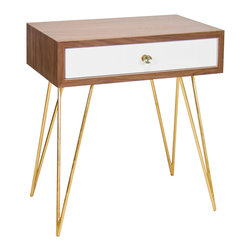 """Worlds Away - Worlds Away Lathan Side Table - Strikingly retro, the Lathan side table stands in high style. Atop golden hairpin legs, its warm wooden top surprises with a single white lacquered drawer. 24""""W x 15'D x 28""""H; Walnut veneer; Glass knob hardware; Drawer runs on glides"""