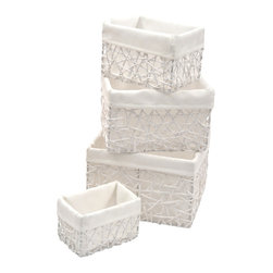 "Set of 4 Paper Rope Storage Totes White / White Liner - This set of 4 storage totes is made of paper rope with an easy-to-wash drawstring white liner. Perfect for your bathroom, home or office, these baskets are great for storing towels, toys, blankets or anything else you need to organize. Wipe with a damp cloth. Shallow basket measures 4.92"" L X 3.15""W X 3.15""H , Small basket 6.1"" L X 4.33""W X 3.94""H, Medium basket 7.48"" L X 5.91""W X 4.72""H, Large basket 8.27"" L X 7.09""W X 5.52""H. Color white with white liner. This pretty set of paper rope storage tote baskets will bring a natural touch to your decor as well as being functional and will be a welcomed addition to any bathroom! Complete your decoration with other products of the same collection. Imported."