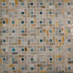 "Glass Tile Oasis - Gold/Seaside-Sold by the Box Unique Shapes Green Kitchen Tumbled Glass and Slate - Sheet size:  12 3/4' x 12 3/4""     Box Covers: 5.87 Sq. Ft  Tile Size:  1/2"" x 1""     Tiles per sheet:  320     Tile thickness:  1/4""      Grout Joints:  1/8""     Sheet Mount:  Mesh Backed     Sold by the box - 5 sheets per box    -  Customize your hardest working surfaces with our Slate series. Choose from many patterns and an array of colors in honed and cleft finishes."