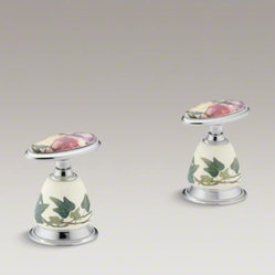 KOHLER Peonies & Ivy(TM) design on Antique ceramic handle insets and skirts for