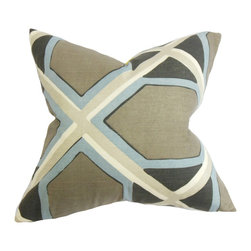"The Pillow Collection - Otthild Geometric Pillow Gray Blue 18"" x 18"" - Introduce this sleek accent pillow to your living room or bedroom for an instant makeover. This square pillow features a mix of blue, white, gray and neutral hues. The geometric pattern lends a contemporary touch to your interiors. Pair this up with solids and other patterns for a modern vibe. Made of 100% high-quality cotton material. Hidden zipper closure for easy cover removal.  Knife edge finish on all four sides.  Reversible pillow with the same fabric on the back side.  Spot cleaning suggested."