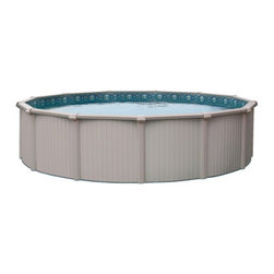 """Blue Wave - Blue Wave Bermuda Round 54 Inch Aluminum Pool - 24 ft - Bermuda _ 54"""" deep pool top of the line aluminum pool is super strong, durable and beautiful. This top of the line pool features extra-heavy gauge extruded aluminum for unsurpassed strength and durability. Bermuda has taken quality pool construction to the next level with the all aluminum components. Because of its extra-heavy gauge aluminum parts and interlocking walls it is over 50% stronger than conventional steel above ground pools. In addition to the super strength of its aluminum parts, Bermuda is finished with excellent craftsmanship resulting in a pool that is as beautiful to look at as it is super strong. The fit and finish on this pool are unmatched by any other. 100% corrosion protection _ Bermuda's components are made from aluminum that will not rust or corrode like steel. After extrusion, all aluminum panels are powder coated with a beautiful enamel that adds a high gloss luster to its finish as well as further protecting the aluminum from corrosion. All Bermuda's components are powder coated to insure a beautiful finish that will last for many seasons. From the bottom rails that contact the ground to the rugged top seat, your Bermuda pool is impervious to rust and corrosion. Easy installation _ Bermuda's interlocking wall sections make it much easier to install than most convention above ground pools. Because of the superior strength and corrosion protection the pool can also be installed as a semi-in ground pool. See our quality features button for details. Bermuda is for the customer that wants only the best in quality, durability and strength. Because of its outstanding features, the pool is backed by a lifetime warranty. An installation manual is included with each pool."""