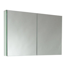 "Fresca - Large Bathroom Medicine Cabinet w Mirrors - Recessed Mounting Option. Product Material: Glass. Finish: Mirror. 2 Glass Shelves. 2 Mirrored Doors. 39.5 in. W x 26 in. H x 4.75 in. DThis 40""medicine cabinet features mirrors everywhere. The edges have mirrors and also on the interior of the medicine cabinet. The inside features two tempered glass shelves. Can be wall mounted or recessed into the wall."