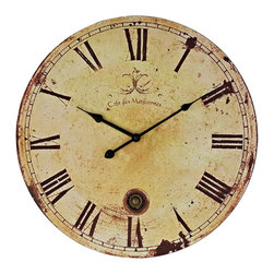 Vintage Wall Clock - Chart your course through world history with this antique-looking piece. Vintage Expression features a time-aged clock face that suffuses the twelve Roman numerals and black metal hands. Produced as an affordable work of distinction for quiet and serene settings, sail your way to a more enriching decor.