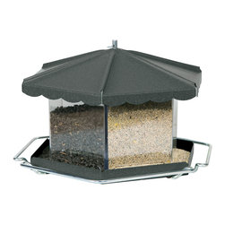 Homestead - Triple Bin Party Feeder Bronze - Holds up to 11.5 lbs of mixed seed. Triple bin holds up to 3 types of seed to attract different species of birds. 6 perches for big parties. Removable roof for easy filling.