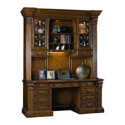 Sligh Furniture - 2 Pc Mediterranean Style Credenza and Deck Se - Credenza:. Laptop docking station under hinged section of top includes power, internet and data ports. Flip down keyboard drawer with ergonomic wood palm rest. Surge suppressor with five electrical outlets, two phone cords and remote on/off switch. Locking left pedestal includes two box drawers and a letter/legal size file drawer on ball bearing slides. Right pedestal with top box drawer and pencil tray. Lower hinged door with faux drawer appearance has one adjustable height wood shelf. 74.25 in. W x 23.75 in. D x 31.50 in. H. Kneehole: 25.13 in. W x 25.13 in. H. Deck:. Wood framed glass doors with one adjustable height wood framed glass shelf. Open center section includes one adjustable height wood framed glass shelf. Touch activated display lighting. Left and right side box storage drawers. Lower center document storage area with removable partitions. Cord management. Task lighting. 77 in. W x 17 in. D x 65 in. H. Overall dimensions with hardware: 77 in. W x 23.75 in. D x 96.50 in. H