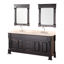 "Design Element - Design Element Marcos 72"" Espresso Modern Double Sink Vanity Set - The 72"" Marcos Double Vanity is elegantly constructed of solid hardwood. The crema marfil marble counter tops classic beauty and styling bring sheer elegance to any bathroom. The rich marble counter top and oval porcelain under mounted sinks contrast beautifully with the classical lines of the cabinetry. This beautiful vanity includes two soft closing double door cabinets and three drawers adorned with antique finish hardware. Two espresso framed mirrors with ornate accents are included. The Marcos Vanity is designed as a center piece to awe-inspire the eye without sacrificing quality, functionality or durability."