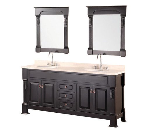"""Design Element - Design Element Marcos 72"""" Espresso Modern Double Sink Vanity Set - The 72"""" Marcos Double Vanity is elegantly constructed of solid hardwood. The crema marfil marble counter tops classic beauty and styling bring sheer elegance to any bathroom. The rich marble counter top and oval porcelain under mounted sinks contrast beautifully with the classical lines of the cabinetry. This beautiful vanity includes two soft closing double door cabinets and three drawers adorned with antique finish hardware. Two espresso framed mirrors with ornate accents are included. The Marcos Vanity is designed as a center piece to awe-inspire the eye without sacrificing quality, functionality or durability."""