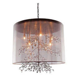 Artcraft - Sherwood 6-lt Chandelier - Beautiful organza shades, with organically shapes branches that have glass jewels as buds at the tips. Shown with a brown/ white shade and bronze/ chrome interior frame.