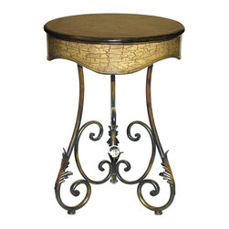 Sterling Lighting - Curled Leaf Side Table - Round shape. Made from metal and wood. Painted finish. 22 in. Dia. x 31 in. H (18 lbs.)