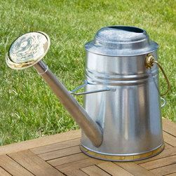 "Antique Milk Jug Watering Can - This Antique Milk Jug Watering Can will add a touch of ""down on the farm"" feel to your garden, and the added durability of its galvanized steel construction ensure it will be a useful gardening tool for years to come. The pail-style movable brass handle on top and the fixed handle near the bottom make this watering can easy to maneuver while the wide spray rose provides maximum watering coverage."