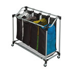 Deluxe Quad Sorter- Mesh Bags - Honey-Can-Do SRT-01682 Steel Elite Quad Sorter, Silver / Black. Sleek and contemporary, this sorter is both stylish and highly functional. Set on smooth glide wheels for easy maneuvering, the heavy-duty steel frame is both durable and rust-resistant. Four removable sorter bags are convenient for sorting and carrying laundry. Metal handles offer exceptional durability. Bags feature breathable mesh material on two sides to keep laundry from storing odors. Mesh material also serves as the bottom of the sorter to help keep heavy loads off of the ground. Contemporary styling and full-featured functionality make this sorter a great choice. Some assembly required.