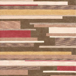 Alexander Home - Hand-tufted Lyonese 'Floorboards' Green Rug (2'3 x 7'6) - This green Floorboards rug features a soft pile and a warm abstract design. This modern rug also features shades of gold,brown,red and ivory.