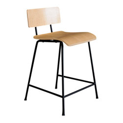 Gus Modern - School Barstool, Natural Oak Veneer - School Stool by Gus Modern. A modern reinterpretation of the classic elementary school chair. Features a bent-ply seat and back which are fastened to the frame with rubber gaskets, which provide durability and add a functional aesthetic. Powder coated steel frame, bent ply.