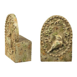 Sterling Industries - Sterling Industries Hillside Ave Bookend X-0809-39 - From the Hillside Ave Collection, this Sterling Industries bookend set features classic detailing. The bases feature a simple arched body with a rivet frame that highlights the nature scene. A single bird is surrounded by lush flowers, and the aged finishing adds a vintage feel to the set.