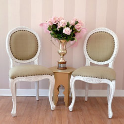 Bella Chateau Isabelle French Carved Dining Chair in White Wash - This gorgeous, solid wood, mahogany chair features a beautiful white wash finish. Each chair has been upholstered in Barley Cotton and is a vintage reproduction. Would be perfect as dining chairs! See our Furniture section for matching armchairs.