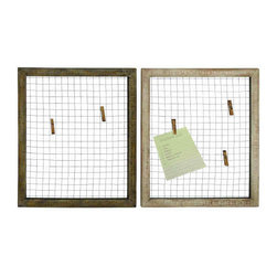 UMA - Wire Grid Reminder and Photo Holder Set of 2 - Two antique style frames with distressed finishes provide a grid of wires for hanging notes, reminders and photos