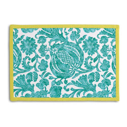 Turquoise Dappled Floral Tailored Placemat Set - Class up your table's act with a set of Tailored Placemats finished with a contemporary contrast border. So pretty you'll want to leave them out well beyond dinner time! We love it in this watercolor floral and vine outdoor print in dappled aqua & white works indoors and out.