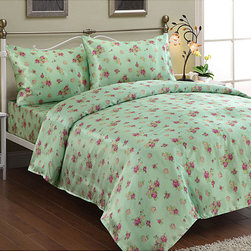 UHF - 'Audrey' Satin Twin-size Sheet Set - A vibrant floral pattern highlights this lovely green king-size sheet set. Constructed of smooth,faux silk,this sheet set features a flat sheet and pillowcase with 4-inch hems and arrives with a fully elasticized fitted sheet.