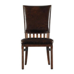 Stanley Modern Craftsman Morris School Side Chair Saddle 955-61-65 - Not just craftsman looks, but craftsman quality - the Stanley Modern Craftsman Morris School Side Chair Saddle 955-61-65 is a true masterpiece. True early 19th century looks make this chair an instant classic. The slat-back frame and sleek legs are finished in a luxurious saddle, and perfectly compliment the hand-selected aniline-dyed leather. The upholstered back and double padded box pleat seat are individually tacked with a row of custom-forged nailheads. If you're looking for quality and attention to detail, you've found it here.The Modern Craftsman CollectionEmbrace austerity with Stanley Furnitureís Modern Craftsman collection, a stellar combination of Mission style, Arts and Crafts detailing, and mid-century-modern influence. The collection celebrates hand-craftsmanship with exposed joinery and stretcher motifs, while the modern industrial hardware continues the dedication to subdued elegance. Crafted of veneers, this collection draws character from burnished corners, rub-through trimmings, and natural cow-tailing.Stanley Furniture Craftsmanship Stanley Furniture's main objective is to produce quality and stylish furniture by using the best wood materials, construction procedures, and elegant finishes on their products to help you fashion your home decor the way you imagined. All of their furniture is hand-crafted from quality woods, incorporating other superior materials such as aluminum, glass, plastic, leather, and marble. Every joint is carefully constructed (keeping wood's sensitivity to heat and humidity in mind) allowing for expansion and contraction. All joints are held together with glue and nail. Stanley's 30-step finishing process starts with an undertone stain that is applied to a hand-sanded piece. Next, the stain is sealed with a wash coat, then hand sanded again with filler applied to pack the wood pores and smooth out the surface. A sealer coat is then applied, the piece is hand sanded again, and hand padded to mellow the tone. From there, a luster glaze is rubbed on by hand, followed by antiquing or distressing also done by hand. Finally, after drying, each piece is hand waxed and rubbed prior to final inspection.About Stanley FurnitureSince 1924, the goal of the Stanley Furniture Company has been to manufacture high quality furniture at a price the average American family could afford. To accomplish this goal, founder Thomas Bahnson Stanley surrounded himself with the finest furniture craftsmen and instilled in them a sense of pride in building superb quality into every piece of Stanley Furniture. Today, that pride is shared by more than 1,750 dedicated associates who have made Stanley Furniture one of the largest, most respected furniture manufacturers in the nation.