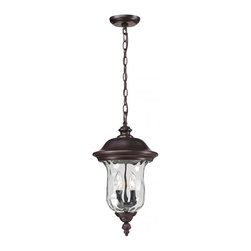 Two Light Bronze Clear Waterglass Glass Hanging Lantern - Traditional charm emanates from this medium outdoor chain hung fixture, which pairs clear water glass with rubbed bronze hardware for a timeless look.