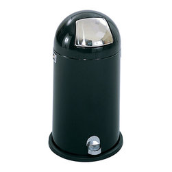 "Safco - Dome Step-On Receptacle, 9-Gallon - Black - If you are looking for classic clean, you are destined for the dome! The classic look of the Dome-Top waste receptacle with the convenience of a step-on opening mechanism. The smooth operating foot pedal provides access to the spring action, tapered door. The wide bottom edge is resistant to corrosion and is designed to protect floors. Includes a heavy-duty galvanized steel liner. Steel receptacle has a powder coat finish, with a polished chrome door. Meets or exceeds OSHA requirements for waste receptacles.; Features: Material: Steel; Color: Black; Finished Product Weight: 11 lbs.; Assembly Required: No; Limited Lifetime Warranty; Dimensions: 13 3/4""Dia. x 25""H"