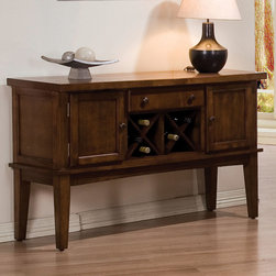 "Acme Furniture - Hadwin Server in Oak - Hadwin Server in Oak; Finish: Oak; Ctr Drawer, X Wine Rack, 2 Door Cabinet; Materials: RBW parts; Weight: 108 lbs; Dimensions: 52"" x 18"" x 33""H"