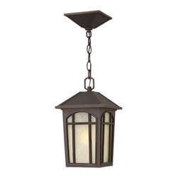 Hinkley Lighting - Cedar Hill Hanger Outdoor Lantern - This is a traditional outdoor lantern in durable die-cast aluminum construction with medium base lamping. This four-sided soft taper design features linen glass behind arched window pane panels and is available in two popular finishes.