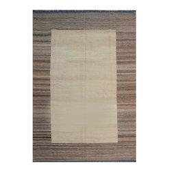 "ALRUG - Handmade Beige Oriental Kilim  7' 1"" x 10' 5"" (ft) - This Afghan Kilim design rug is hand-knotted with Wool on Wool."