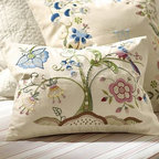 "Tessa Floral Embroidered Pillow Cover, 18"" - A fanciful peacock perches in a tree blooming with spring colors on our embroidered lumbar cover. The boudoir pillow's flowers and berries create a charming frame for an embroidered monogram. 18"" square 12 x 16"" Made of cotton. Envelope closure. Insert sold separately; down blend or synthetic. Machine wash. Imported."
