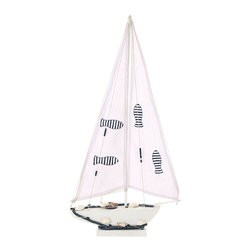 Benzara - Seaside Nautical Sailboat decor With Nautical Rope - For all those who love the sea and love the harbor, this all wood decor features a mighty sailboat shifting in the wind and the waves. And with extra pieces of ocean themed ornaments, like decals of swimming fish and a long nautical rope, this lovely sailboat decor as a fresh ocean breeze to any area of your home.