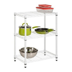 3-Tier White Shelving Unit - 250 Lbs - Honey-Can-Do SHF-01904 3-Tier Steel Urban Adjustable Storage Shelving Unit, White. Create visible, accessible storage space instantly with Honey-Can-Do industrial shelving systems. Clean white finish and sturdy steel frame make this unit the perfect blend of style and functionality. Durable enough for the home or garage; this commercial grade shelving is capable of withstanding up to 250lbs per shelf. Adjustable shelves allow you to change the configuration as your storage needs evolve. Combine multiple units to create a customized storage wall. The no-tool assembly allows you to construct in minutes a shelving unit that will last for years.