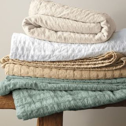 """Eileen Fisher Rippled Cotton Coverlet - With colors called """"sea salt"""" and """"pure white"""", these coverlets can help create your super-soft sanctuary."""