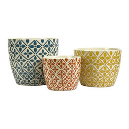 Imax Worldwide Home - Kelly Bright Planters - Set of 3 - Set of 3. Material: 100% Ceramic. 6.75-8.5-10.75 in. H x 8.5-10-12 in. D. Weight: 10.4 lbs.Bright colors and bold graphic patterns define the Kelly Bright Planters. Make a statement with them today!