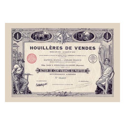 "Buyenlarge.com, Inc. - Houlleres de Vendes- Gallery Wrapped Canvas Art 12"" x 18"" - Stock certificates are like currency, sharing value and beauty on the face.  This cancelled certificate captures a moment in history as technology advances and big business moves forward."