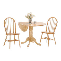 "International Concepts - International Concepts 3 Piece 42"" Round Dining Set in Natural - International Concepts - Dinette Sets - K0142DPC2122 -"