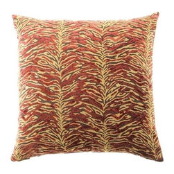 """Canaan - 24"""" x 24"""" Sabu Ruby Animal Print Throw Pillow - Sabu ruby animal print throw pillow with a feather/down insert and zippered removable cover. These pillows feature a zippered removable 24"""" x 24"""" cover with a feather/down insert. Measures 24"""" x 24"""". These are custom made in the U.S.A and take 4-6 weeks lead time for production."""
