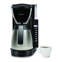 Capresso - Capresso Programmable Thermal Coffeemaker - The Capresso CM300 is a programmable 10 cup coffee maker with a stainless steel thermal serving carafe. The removable 50 oz. water tank makes filling the CM300 with fresh water easy.
