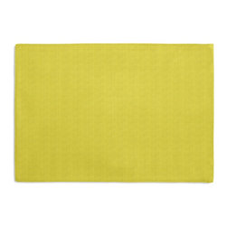 Citrus Yellow Solid Basketweave Custom Placemat Set - Is your table looking sad and lonely? Give it a boost with at set of Simple Placemats. Customizable in hundreds of fabrics, you're sure to find the perfect set for daily dining or that fancy shindig. We love it in this crisp outdoor fabric with basketweave texture in lemon lime yellow.