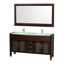 "Wyndham Collection - Daytona 60"" Double Bathroom Vanity Set w/ Green Glass Top & Green Integral Sinks - The Daytona 60"" Double Bathroom Vanity Set - a modern classic with elegant, contemporary lines. This beautiful centerpiece, made in solid, eco-friendly zero emissions wood, comes complete with mirror and choice of counter for any decor. From fully extending drawer glides and soft-close doors to the 3/4"" glass or marble counter, quality comes first, like all Wyndham Collection products. Doors are made with fully framed glass inserts, and back paneling is standard. Available in gorgeous contemporary Cherry or rich, warm Espresso (a true Espresso that's not almost black to cover inferior wood imperfections). Transform your bathroom into a talking point with this Wyndham Collection original design, only available in limited numbers. All counters are pre-drilled for single-hole faucets, but stone counters may have additional holes drilled on-site."