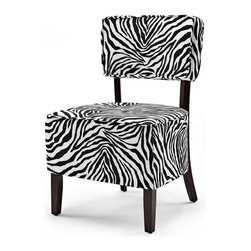 Lifestyle Solutions - Zoey Accent Chair in Black and White - Fabric color: Black and White. Hardwood interior frame. Slipper style shape. Minor assembly required: Instructions and tools provided. Clean with damp cloth. 33.5 in. L x 22.2 in. W x 22.2 in. H (26 lbs)The LS Accent Chair line is an excellent transitional solution to adding fashion and elegance to any home. Easily coordinate the richly finished wood frames and shaped legs with other wood elements in the home while the assortment of fabrics provides an array of options. Crafted with a quality, sturdy hardwood interior construction and plush cushioning ensure that this chair will withstand the test of time.
