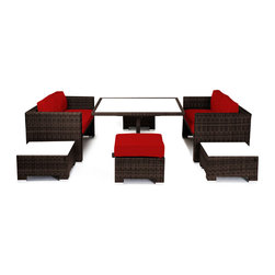 "Reef Rattan - Reef Rattan Camina 7 Pc Cube Love Seat Dining Set - Chocolate Rattan / Red Cushi - Reef Rattan Camina 7 Pc Cube Love Seat Dining Set - Chocolate Rattan / Red Cushions. This patio set is made from all-weather resin wicker and produced to fulfill your needs for high quality. The resin wicker in this patio set won't fade, shrink, lose its strength, or snap. UV resistant and water resistant, this patio set is durable and easy to maintain. A rust-free powder-coated aluminum frame provides strength to withstand years of use. Sunbrella fabrics on patio furniture lends you the sophistication of a five star hotel, right in your outdoor living space, featuring industry leading Sunbrella fabrics. Designed to reflect that ultra-chic look, and with superior resistance to the elements in a variety of climates, the series stands for comfort, class, and constancy. Recreating the poolside high end feel of an upmarket hotel for outdoor living in a residence or commercial space is easy with this patio furniture. After all, you want a set of patio furniture that's going to look great, and do so for the long-term. The canvas-like fabrics which are designed by Sunbrella utilize the latest synthetic fiber technology are engineered to resist stains and UV fading. This is patio furniture that is made to endure, along with the classic look they represent. When you're creating a comfortable and stylish outdoor room, you're looking for the best quality at a price that makes sense. Resin wicker looks like natural wicker but is made of synthetic polyethylene fiber. Resin wicker is durable & easy to maintain and resistant against the elements. UV Resistant Wicker. Welded aluminum frame is nearly in-destructible and rust free. Stain resistant sunbrella cushions are double-stitched for strength and are fully machine washable. Removable covers made with commercial grade zippers. Tables include tempered glass top. 5 year warranty on this product. Table with Glass: W 49"" D 52"" H 30"", Love Seats (2): W 57"" D 30"" H 30"", Ottoman (2): W 24"" D 24"" H 13"""