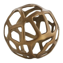 Arteriors - Ennis Small Sphere, Antique Brass - Accessorize in style with this small metal free-form sphere. Perch it on a bookshelf, top a table or tuck it in your candlescape — anywhere that could use an added boost of visual interest.