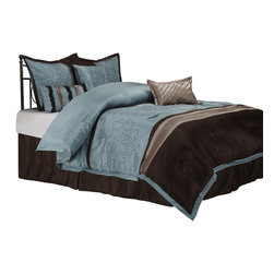 Carleton Bedding Set - Queen - Infuse your bedroom with a refreshing natural style and an outstanding floral pattern with the Carleton set. This set contains everything you need for a flawlessly decorated bed: a comforter, bed skirt, two pillow shams, and three different types of throw pillows.