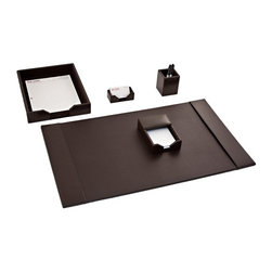 Dacasso Limited Inc - Dacasso Econo-Line Brown Leather 5-Piece Desk Set - D3602 - Shop for Desk and Drawer Organizers from Hayneedle.com! About Dacasso Limited Inc.Located in Gainesville Florida Dacasso offers quality desk sets and unbeatable customer service. Dacasso manufactures leather and wood desk accessories and their product line ranges from complete leather desk sets that perfectly present a professional look to leather calendar holders that provide organization for day-to-day responsibilities. A company that believes in its products and service Dacasso guarantees your satisfaction.