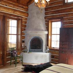 Fireplace-Eld2 - Corner Fireplace with stucco